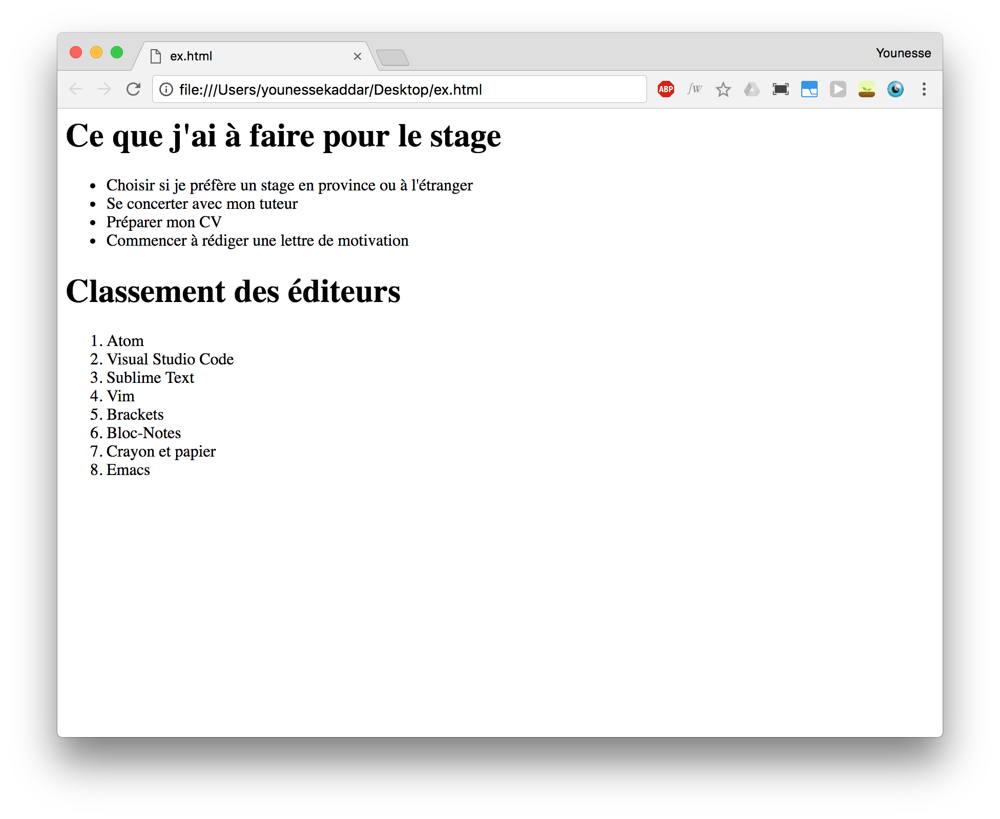 Exemple de listes en html